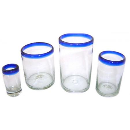vasos con filo azul